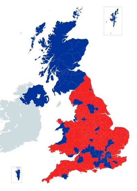 How Britain voted: Scotland, London and other areas in blue wanted to remain in the European Union but were outvoted by the large areas in red which wanted to leave the union.