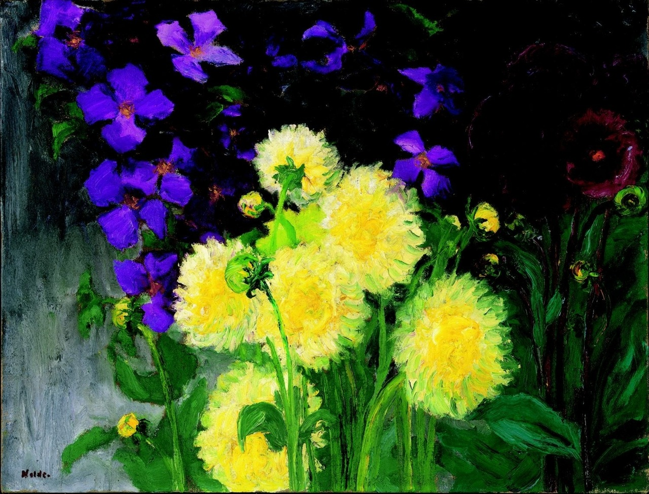 "amare-habeo: "" Emil Nolde (German-Danish, 1867 - 1956) Clematis and dahlias, 1935 Oil on canvas Galerie Thomas, München, Germany """