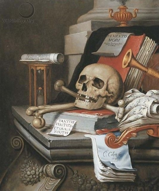 """A vanitas still life with an hour glass, a skull and crossbones, a scroll, two books, music scores, a flute, a violin, a sheet of paper."" Oil on canvas. Edwaert Collier (Renaissance Dutch, 1630-50-1708). Known for vanitas still-life and trompe..."