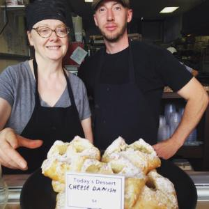 Deb and Byrne show off our Cheese Danish