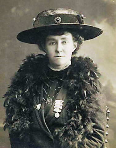 Black and white photographic portrait of Emily Davison