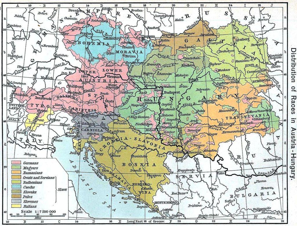 1911年のオーストリア=ハンガリー帝国領 出典:Wikipedia