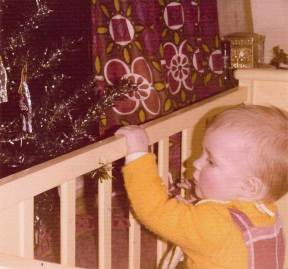 1973 and the little Christmas Tree is within easy reach of our daughter.