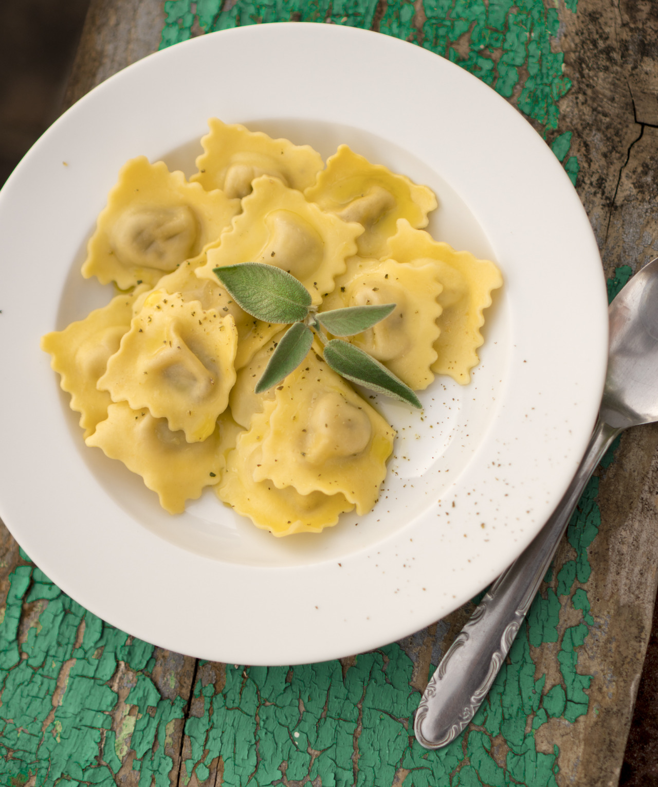 ravioli with fresh sage, olive oil and ground pepper