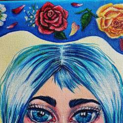 Some pretty little details to this painting which will be on exhibit at the City of Cockburn Show off art show! Hoping to be finished tonight, as I have to take in tomorrow! Arghh! #wip #perthartist #painting #perthcreatives #lowbrow #cityofcockburn #discoverperthartists #perthpop #perthstagram #cutegirls #artist #artlife #blueandwhite #rosepainting #bluehair #love