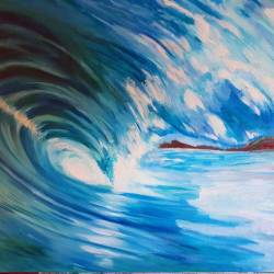 Yes folks I'm still painting this wave painting! Using oils has really done my head in this time. I'm very the owner to be is being so wonderfully patient! #Commission #artworks #ocean #blueandwhite #summer #waves #surf #wip #oilpainting #surfing #greenroom #painting #perthcreatives #perthartist #illustration #art #willieverfinish