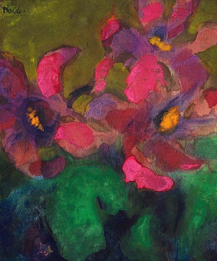 """terminusantequem:""""Emil Nolde (German, 1867-1956), Alpenveilchen, c.1935-40. Watercolour on paper"""""""