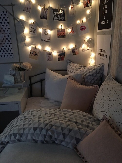 """""""texture works wonders in a small space,"""" says designer tali roth. bedroom lights on Tumblr"""