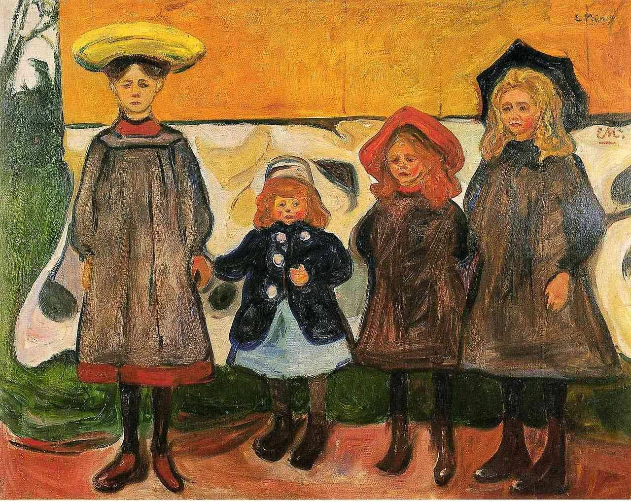 """artist-munch: """" Four girls in Arsgardstrand via Edvard Munch Size: 87x111 cm Medium: oil on canvas"""""""