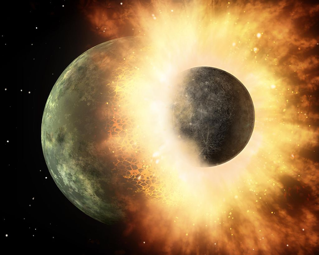 """Planetary Smash-Up """"This artist's concept shows a celestial body about the size of our moon slamming at great speed into a body the size of Mercury. NASA's Spitzer Space Telescope found evidence that a high-speed collision of this sort occurred a few..."""