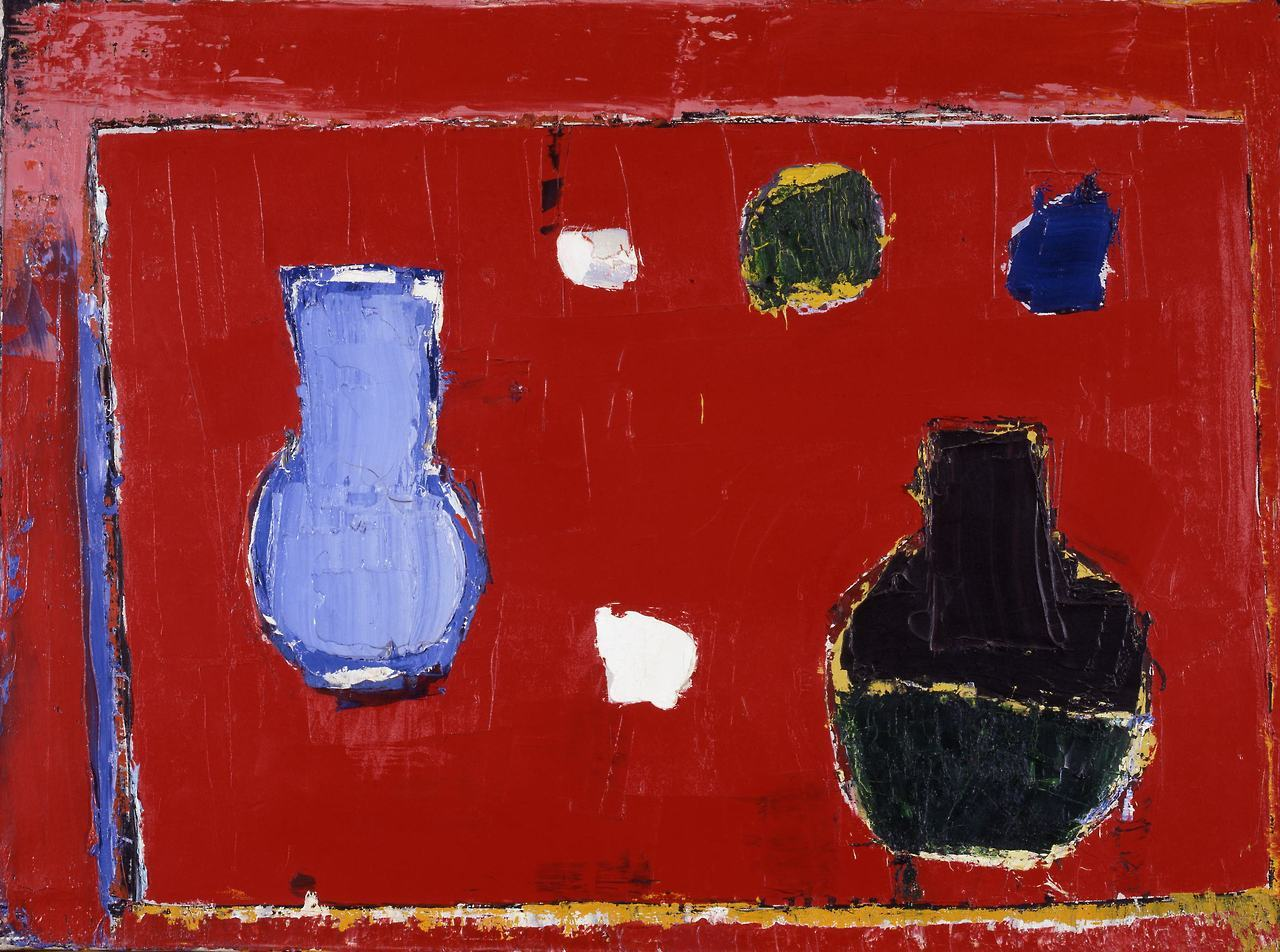 "lawrenceleemagnuson: ""Nicolas de Staël Nature morte à la table rouge (1953) oil on canvas 60 × 81 cm """