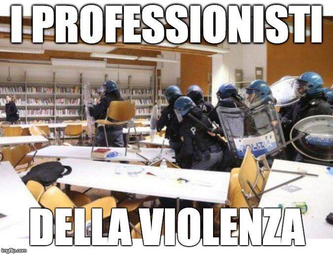 Barbari armati e a volto coperto, senza numeri identificativi, irrompono nella biblioteca universitaria manganellando studenti e devastando libri banchi e suppellettili #bologna