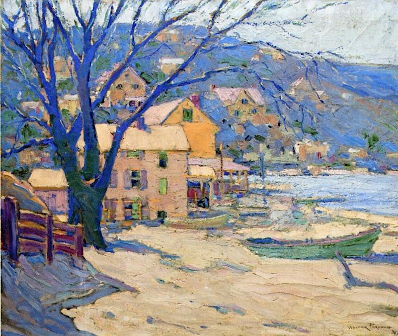 "lawrenceleemagnuson: "" Walter Farndon (USA 1876-1964) Little Neck Bay (n.d.) oil on canvas 76.2 x 91.44 cm """
