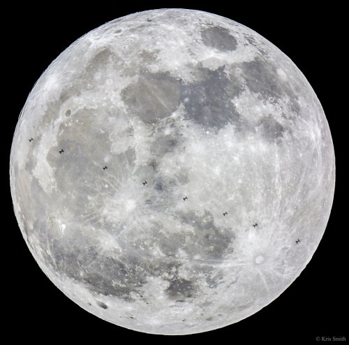 littlelimpstiff14u2:Supermoon and Space Station      Image Credit & Copyright:  Kris SmithExplanation:  What are those specks in front of the Moon? They are silhouettes of the International Space Station (ISS). Using careful planning and split-second timing, a meticulous lunar photographer captured ten images of the ISS passing in front of last month's full moon. But this wasn't just any full moon – this was the first of the three consecutive 2016 supermoons. A supermoon is a full moon that appears a few percent larger and brighter than most other full moons. The featured image sequence was captured near Dallas, Texas. Occurring today is the second supermoon of this series, a full moon that is the biggest and brightest not only of the year, but of any year since 1948. To see today's super-supermoon yourself, just go outside at night and look up. The third supermoon of this year's series will occur in mid-December.
