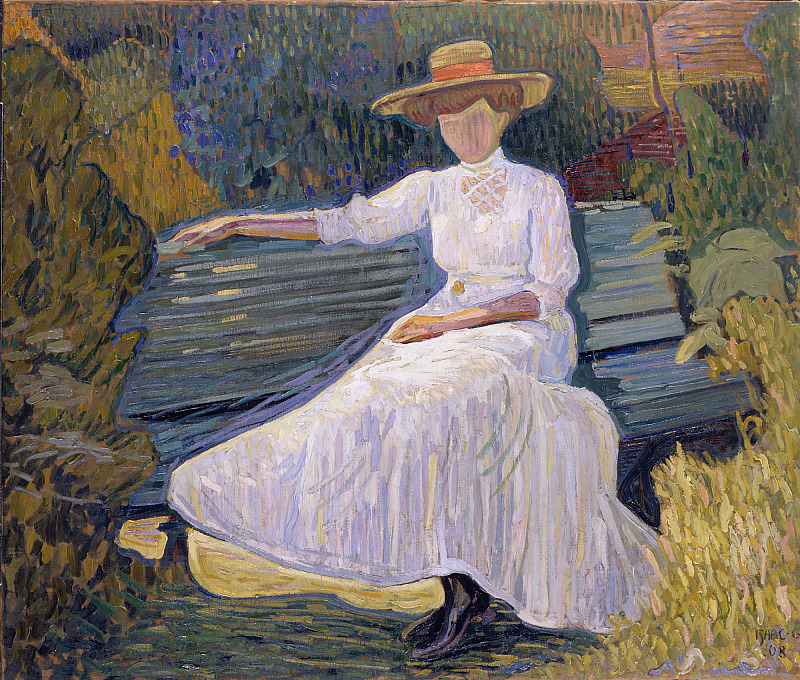 "huariqueje: "" Girl in the Garden Sofa, Arild - Isaac Grünewald , 1908 Swedish,1889‑1946 Oil on canvas Image 100 x 116 cm (39 3/8 x 45 11/16 in.) """