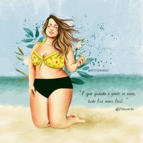 Fica bem mais simples 💙 ☺ . Inspirações que amamos: versos de @vibesverao e fotografia da linda @fluvialacerda 🌷 #artwork #plussize #illustration