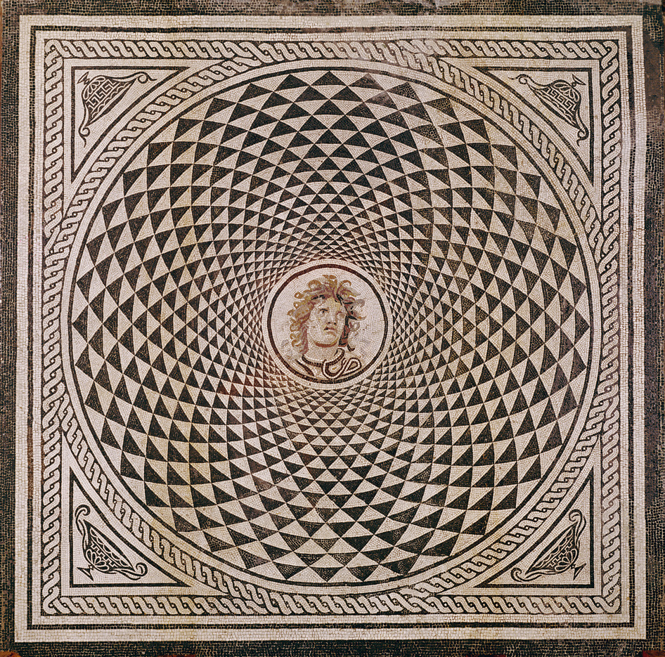Mosaic Floor with Head of Medusa, Roman, about 115 - 150. Unknown artist, Stone tesserae. Via Getty Open Content.