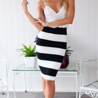 lace cropped top x striped skirt