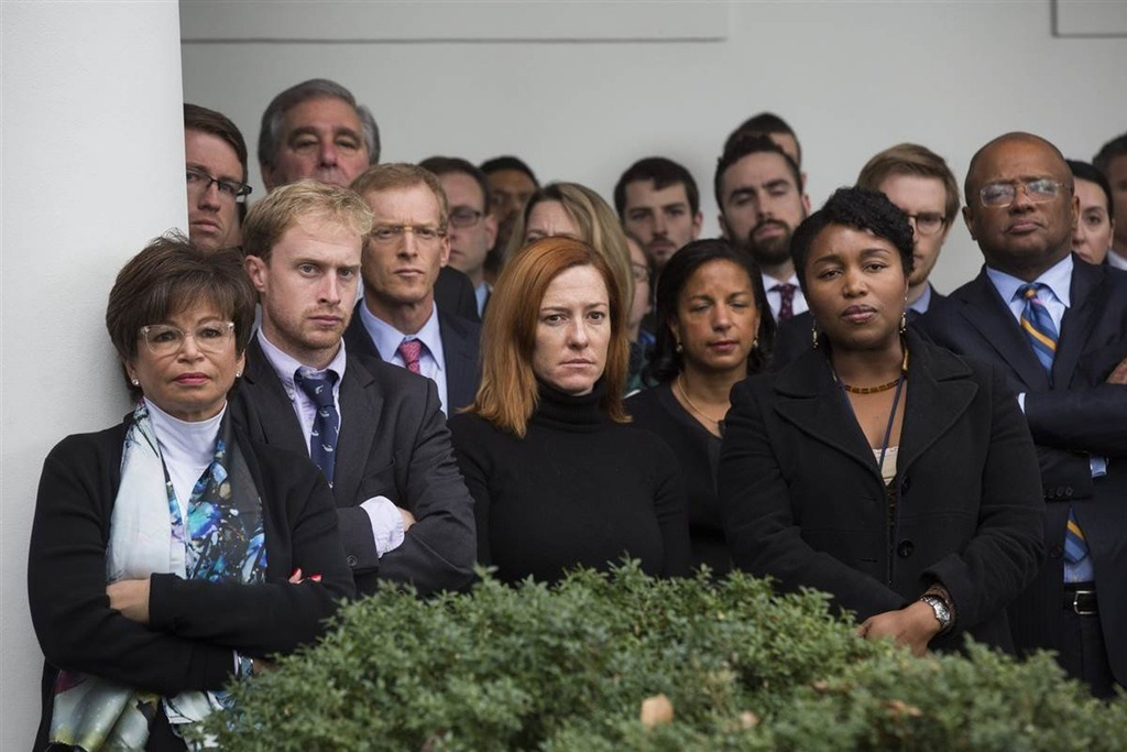 "sixpenceee: "" White house staff watching Obama welcome Donald Trump as president. "" Damn! They're not even trying to look happy."