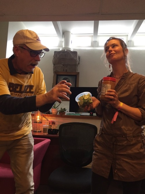 Patrick makes a move for the peanut butter and limes as Jen packs up the RB hospitality lounge after Elvis Depressedly packed the house for the final RB in-studio performance of #treefort2017. -JHE