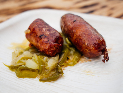Delicious Basque food cooking at the Modern Hotel & Bar all Treefort, burning lamb and chorizo. AS