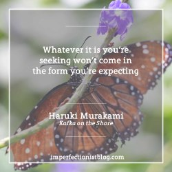 """#315- Haruki Murakami on expectations:""""Whatever it is you're seeking won't come in the form you're expecting"""" -Haruki Murakami (Kafka on the Shore)"""