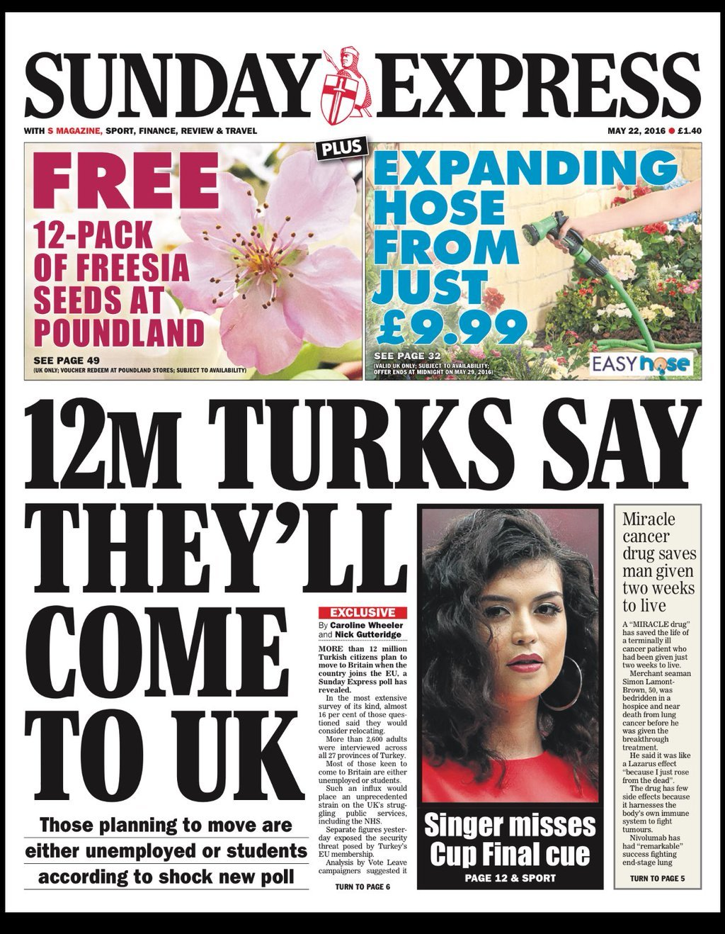 @hendopolis: SUNDAY EXPRESS: 12m Turks say they'll come to UK #tomorrowspaperstoday #bbcpapers https://t.co/ArvI3hlgc2