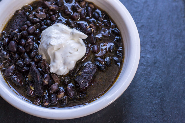 Pressure-Cooker Black Bean Soup with Cumin-Lime Greek Yogurt