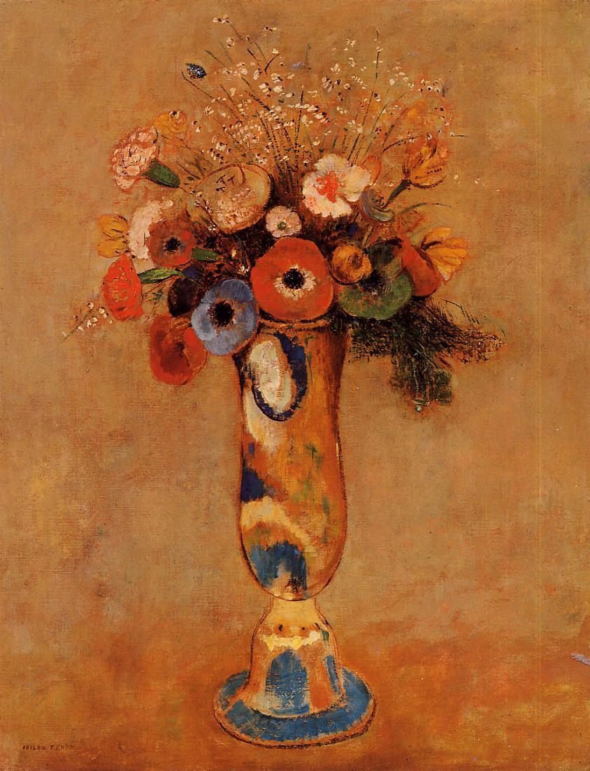 "artist-redon: "" Wildflowers in a Long Necked Vase via Odilon Redon Medium: oil on canvas"""