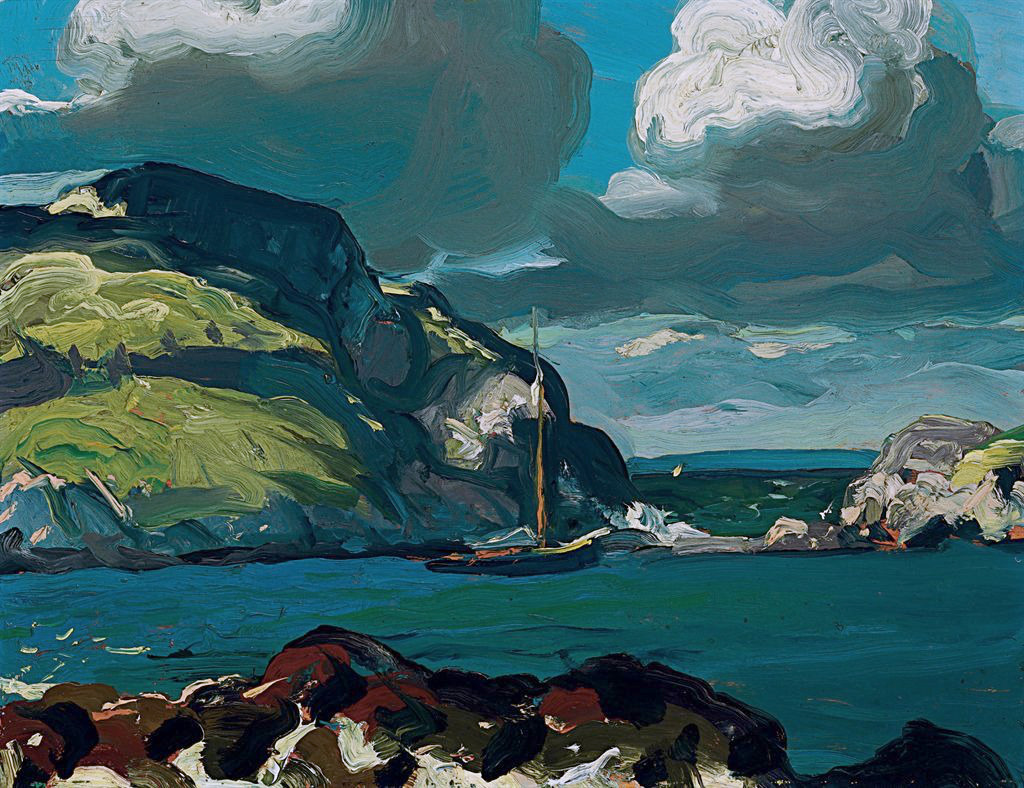 """art-pickings: """"George Wesley Bellows (1882 – 1925, American) Giant Skies, 1913 Oil on panel, 15 x 19 ½"""" Collection of Michael H. Finnell """""""