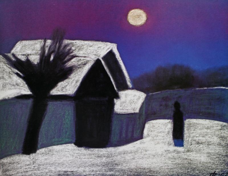 "art-pickings: ""Peter Dick (1939-2002, German born in Russia) Moon night, 2002 Pastel on paper """