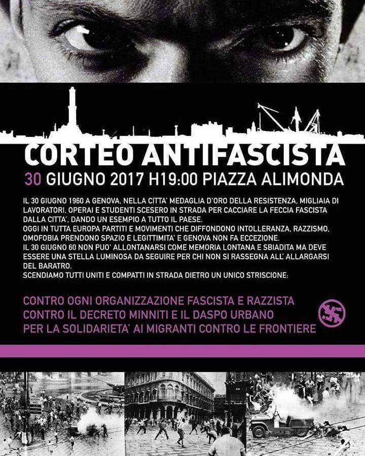 """goodbearblind: """" """"Nonostante l'aggressività della stampa cittadina, chiediamo, a tutta la popolazione antifascista, la massima partecipazione al corteo del 30 Giugno, in memoria dei moti del '60, per attualizzare il senso dell' essere antifascisti..."""
