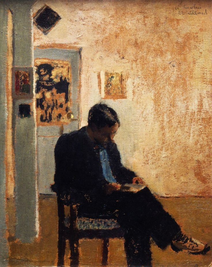 "huariqueje: ""  The Reader (Romain Coolus) - Edouard Vuillard, 1897-99 French, 1868-1940 Oil on cardboard, V. Madrigal Collection, New York """