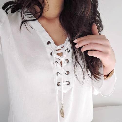 $11.18 Pretty white lace up blouse. Get it »here« !