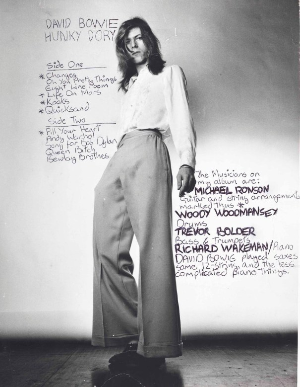 aa29096b62 David Bowie's handwritten notes on this Brian Ward photo used for the back  cover of 1971's Hunky Dory.