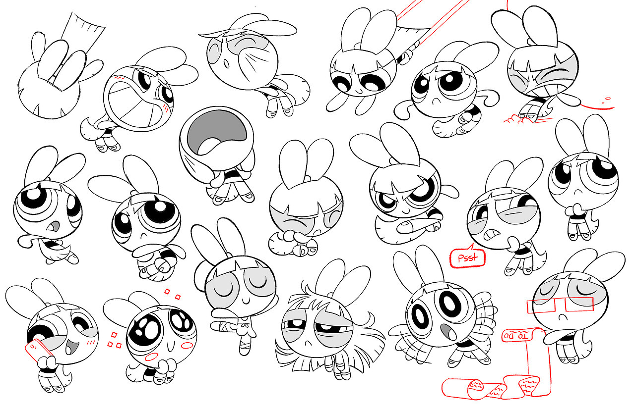 Comparing The Powerpuff Girls Character Sheets Between The