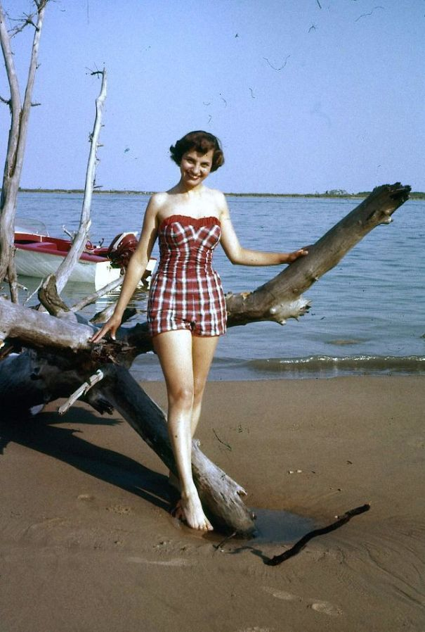 e1d59f0095 One-Piece Swimwear: The most popular bathing suit for women in the 1950s.