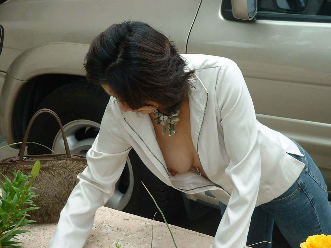 bent over downblouse