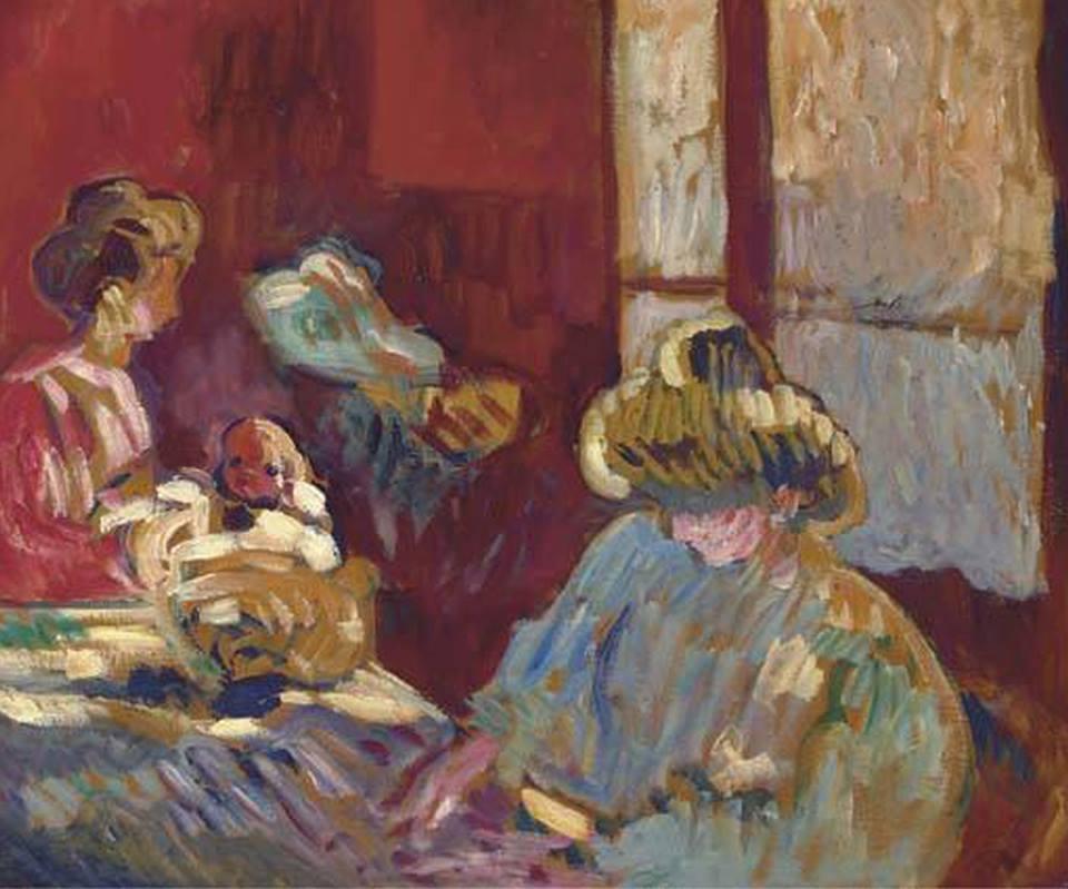 "huariqueje: ""  Maternité - Louis Valtad, 1908 French, 1869-1952 Oil on paper laid down on cradled panel , 46.4 x 54.6 cm """