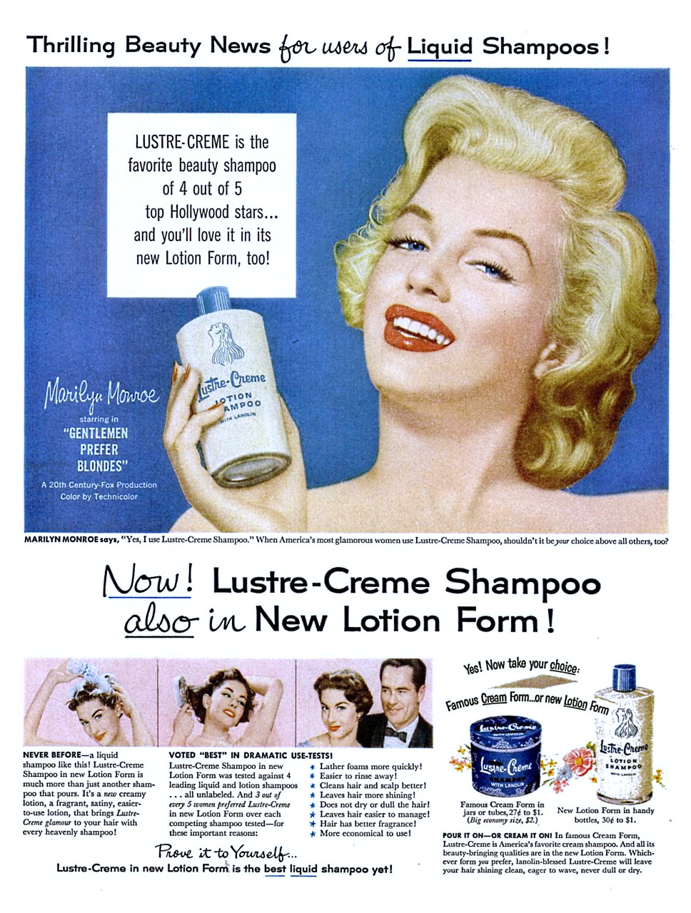 Lustre-Cream Shampoo featuring Marilyn Monroe - 1953