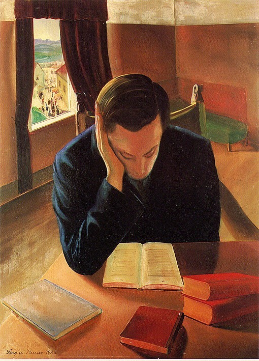 "kundst: ""Sergius Pauser (At. 1896-1970 The reader (1925) Oil on hardboard (74 x 54 cm) """