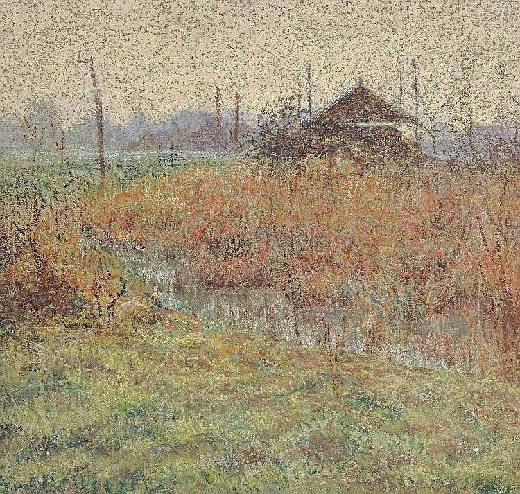 """huariqueje: """" The Marsh - De Weert Anna Belgian, 1867-1950 Pastel, 47,5 x 50,5 cm. """""""