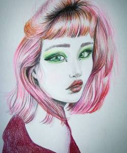 Awhile ago I found a photo of a beautiful model, but for the life of me I don't know who she is now. Anyway she's purty. 💖......#art #doodle #sketching #sketch #onesketchaday #journal #illustration #sketching #drawdrawdraw #pencildrawing #perthcreatives #perthartist #illustration #pinkhair #model