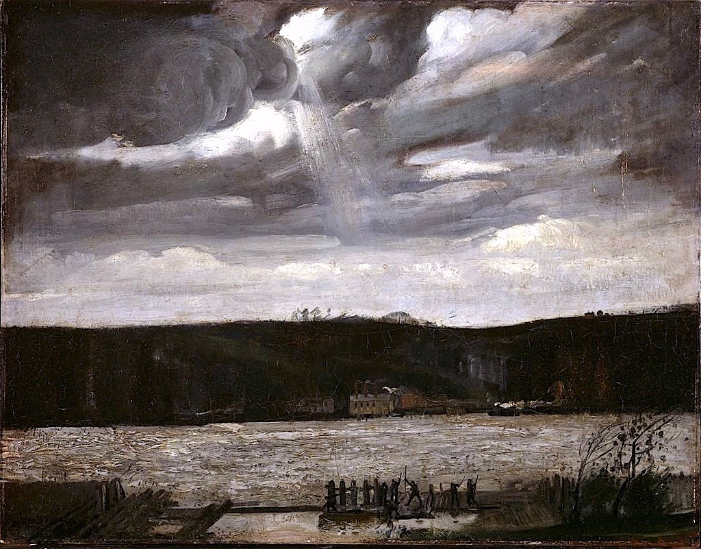 "dappledwithshadow: ""A Cloudy Day (Hudson River- Coming Squall) - George Bellows, 1908. """