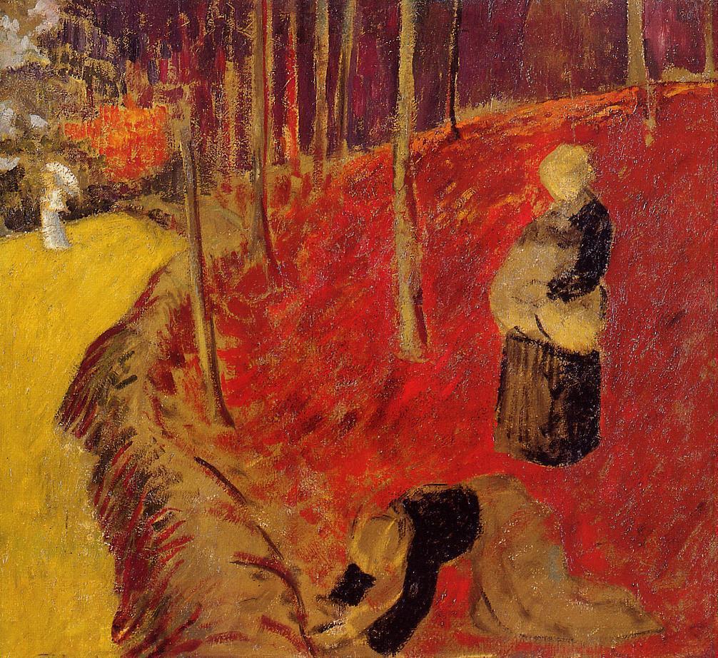 "artist-serusier:"" The Fern Harvesters in the Boid d'Amour at Pont Aven via Paul SerusierMedium: oil on canvas"""