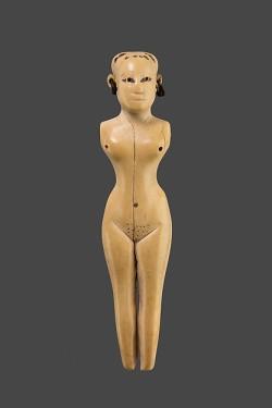 mini-girlz:  Egyptian Female FigurinePeriod: Middle Kingdom–Early New KingdomDynasty: Dynasty 12–18Date: ca. 1981–1550 B.C.Geography: From EgyptMedium: Ivory, bronzeDimensions: H. 11.4 cm (4 ½ in.); W. 2.5cm (1 in.); D. 2.3 cm (7/8 in.)> metmuseum.org