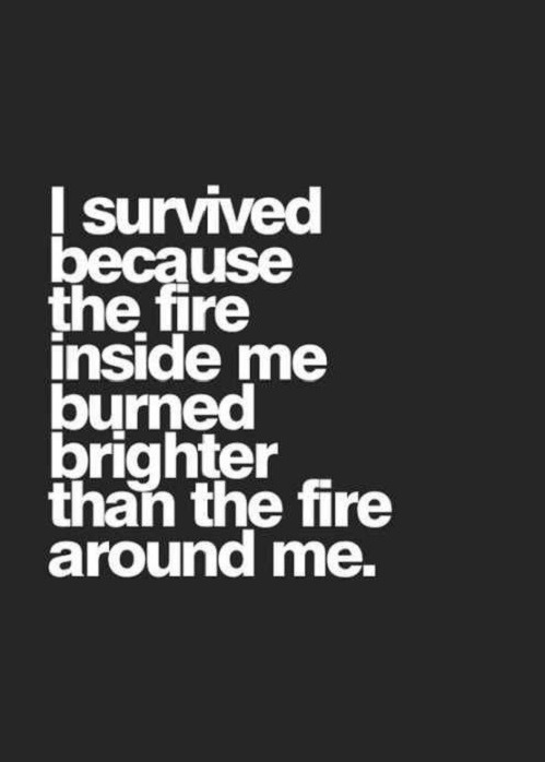 I Survived The fire inside me burned brighter then the fire around me. Funny Pictures Funny Quotes Funny Memes