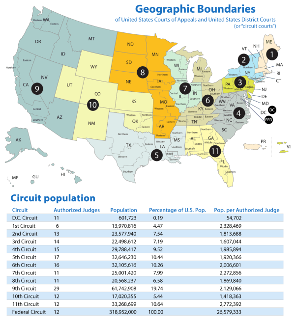 Sunlight Cities, mapsontheweb: Map of US Circuit Courts The...