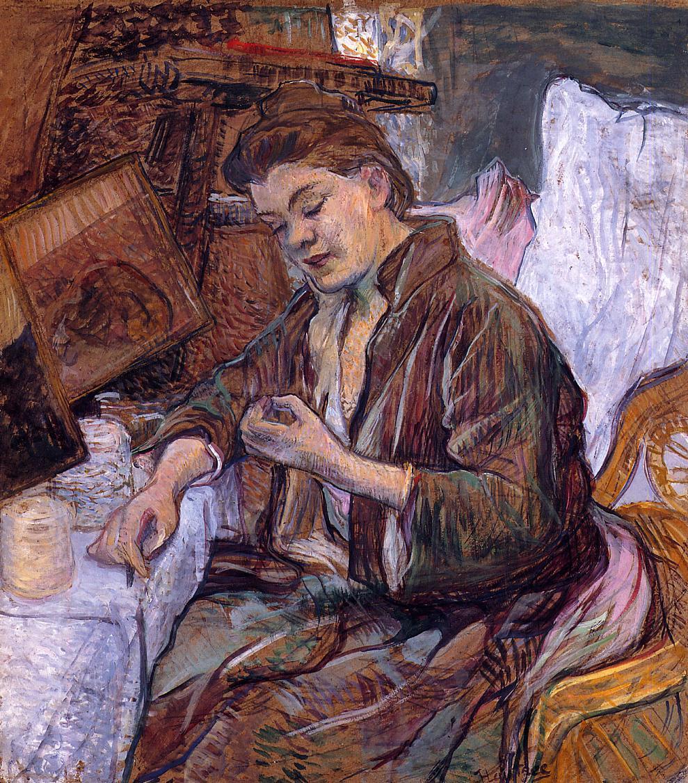 """artist-lautrec: """" The Toilet Ms. Fabre by Henri de Toulouse-Lautrec Medium: oil on board"""""""