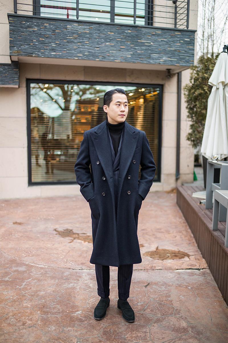 B&TAILOR heavy wool double polo coat